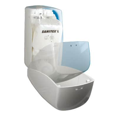 image of an open Sanitex soap dispenser